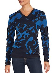Versace Camo Texture Ribbed Pullover Dark Purple