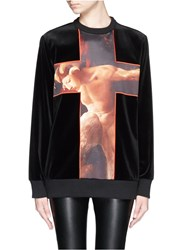 Givenchy 'Faun' Cross Print Velvet Sweatshirt Black