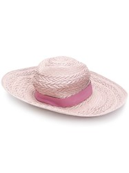 Paul Smith Plaited Style Sun Hat Pink And Purple