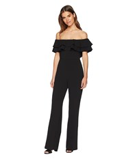Catherine Malandrino Lelio Ruffle Top Off The Shoulder Jumpsuit Black Jumpsuit And Rompers One Piece