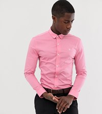 Jack Wills Skinny Fit Poplin Stretch Shirt In Pink Exclusive At Asos