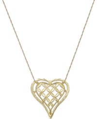 Macy's Framed Open Heart Pendant Necklace In 10K Gold