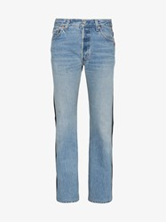 Vetements Denim And Leather Contrasting Jeans Blue