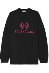 Balenciaga Embroidered Wool And Cashmere Blend Sweatshirt Black