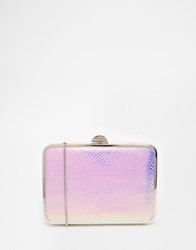 French Connection Box Clutch Bag In Mermaid Metallic Pink Multi