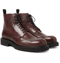 Mr P. Jacques Shearling Lined Suede Boots Burgundy