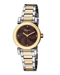 Salvatore Ferragamo 31Mm Two Tone Bracelet Watch W Mother Of Pearl Dial And Diamonds Brown