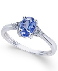 Macy's Tanzanite 3 4 Ct. T.W. And Diamond Accent Ring In 14K White Gold Blue