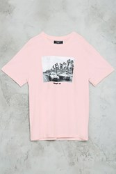 Forever 21 Charged Up Graphic Tee Pink Black