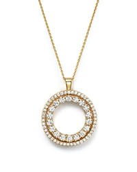 Roberto Coin 18K Yellow Gold Double Sided Circle Pendant Necklace With White And Cognac Diamonds 16