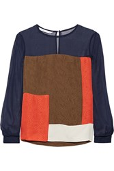 Diane Von Furstenberg Raegan Color Block Silk Top Navy