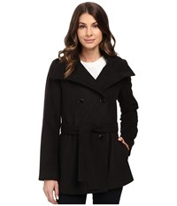 Calvin Klein Double Breasted Belted Stand Collar Faux Wool Black Women's Coat