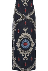 Valentino Printed Cotton And Silk Blend Maxi Skirt Dark Denim