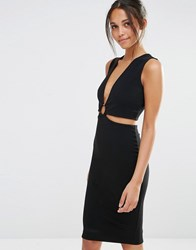 Missguided Cut Out Hoop Waist Bodycon Dress Black