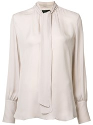 Nili Lotan Tie Front Blouse Nude Neutrals