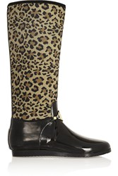 Dkny Vanessa Leopard Print Neoprene And Rubber Rain Boots Animal Print