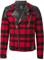 Mcq By Alexander Mcqueen Checked Biker Jacket Red