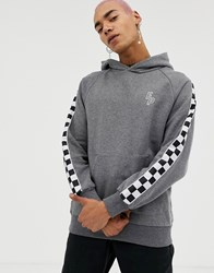 Fairplay Hoodie With Chequerboard Sleeve Taping In Grey