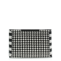 J.Crew Textured Leather Houndstooth Clutch Alabaster Black
