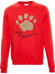 Carven Fur Patch Sweatshirt Red