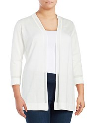 Vince Camuto Plus Sheer Strip Open Front Cardigan Ivory