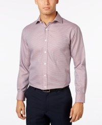 Tasso Elba Men's Classic Fit Non Iron Burgundy Houndstooth Dress Shirt Only At Macy's Burgandy