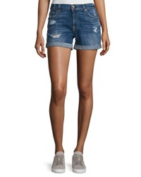 7 For All Mankind Mid Rise Rolled Cuff Distressed Denim Shorts Indigo
