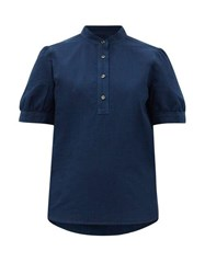 A.P.C. Ilna Cotton Blouse Navy