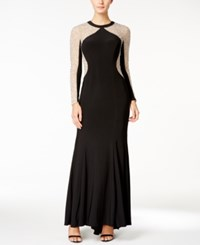 Xscape Evenings Petite Beaded Illusion Hourglass Gown Black Nude Silver