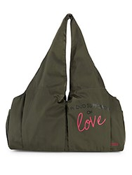 Peace Love World East West Gym Tote Army Green