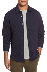 Relwen Diamond Quilted Knit Long Sleeve Shirt Navy