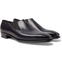 George Cleverley Anthony Burnished Leather Loafers Navy