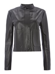 Sportmax Longsleeve Leather Jacket With Pocket Detail Black