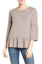 Gibson Women's Cozy Fleece Peplum Top Pink Smoke