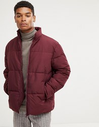 Kiomi Padded Jacket In Burgundy With Funnel Neck Red