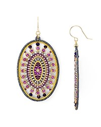 Miguel Ases Beaded Oval Drop Earrings Purple Gold