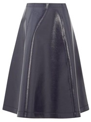 Sara Lanzi Coated Wool Blend A Line Skirt Navy
