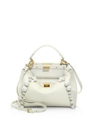Fendi Peekaboo Mini Floral Embellished Leather Satchel Bianco