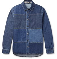 Mcq By Alexander Mcqueen Patchwork Denim Shirt Blue