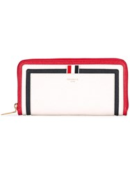Thom Browne Striped Zip Around Wallet Women Leather One Size White