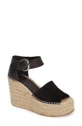 Marc Fisher Women's Ltd Alida Espadrille Platform Wedge Black Suede