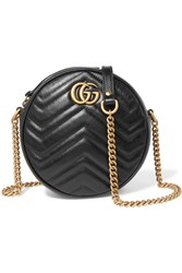 Gucci Gg Marmont Circle Quilted Leather Shoulder Bag Black