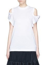 Toga Archives Cold Shoulder Jersey T Shirt White