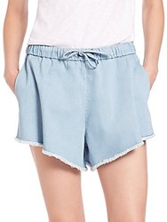 Nicholas Frayed Denim Shorts Light Blue