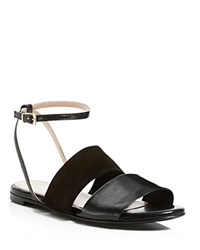 Charles David Sally Flat Ankle Strap Sandals Black