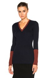 Victoria Beckham Wool Rib Shine Fitted V Neck Sweater In Blue
