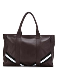 Mara Mac Leather Tote With Striped Detail Brown