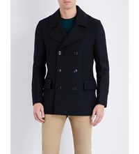 Paul Smith Double Breasted Wool Blend Peacoat Navy