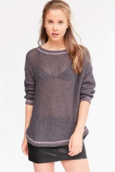 Kimchi And Blue Lea Lace Up Pullover Sweater Grey Multi