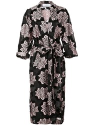 Julien David Printed Kimono Coat Black